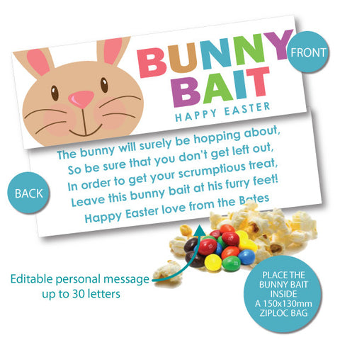 graphic about Bunny Bait Printable called Bunny Bait Easter Bag Toppers