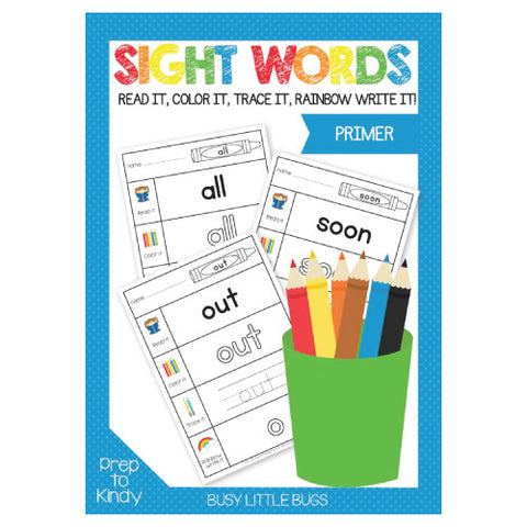 Primer Sight Word Work Sheets