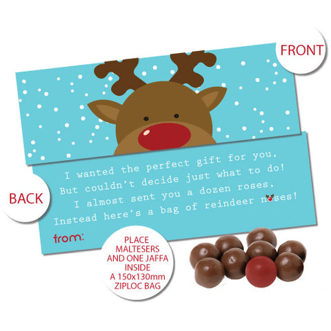 Reindeer Noses Bag Toppers - Blue