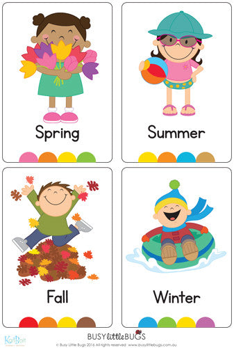 Seasons Flash Cards u2013 Busy Little Bugs