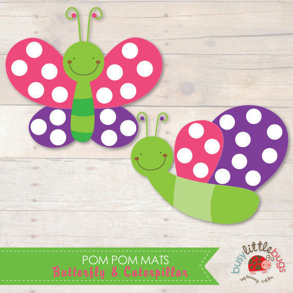 Butterfly & Caterpillar Pom Pom Play Mats