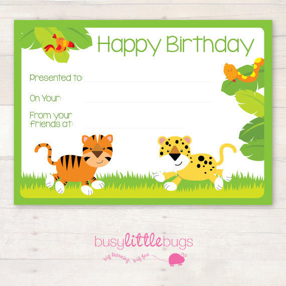 In the Jungle Birthday Chart