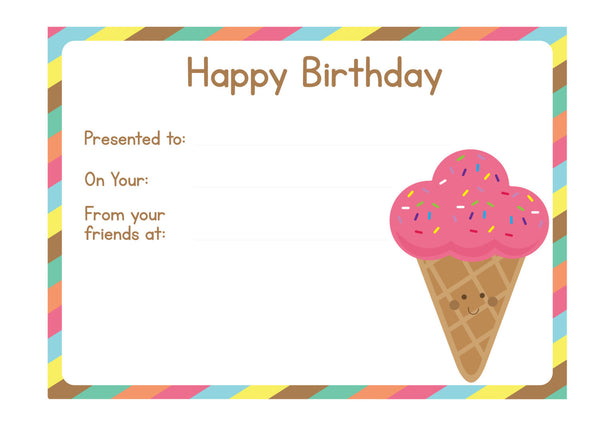 Ice Cream Birthday Chart
