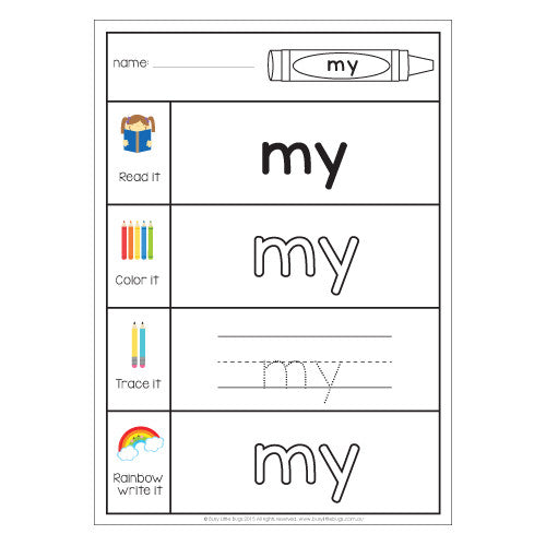 Pre-Primer Sight Word Work Sheets