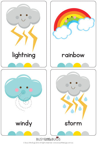Weather Flash Cards – Busy Little Bugs