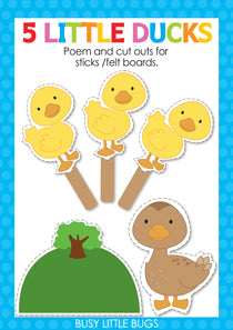 5 Little Ducks Finger Play