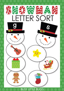Christmas Snowman Alphabet Sort