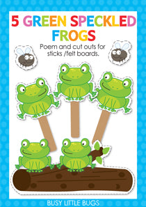 5 Green Speckled Frogs Finger Play