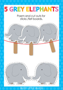 5 Grey Elephants Finger Play