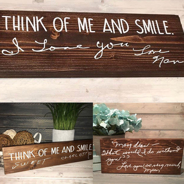 Handwriting Wooden Sign