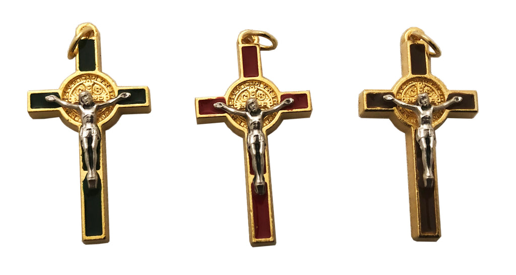 Crucifix Cross Pendant; green, red or brown