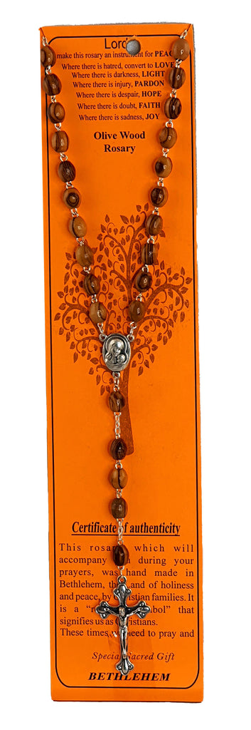 Olive Wood Rosary on Card - 2 varieties