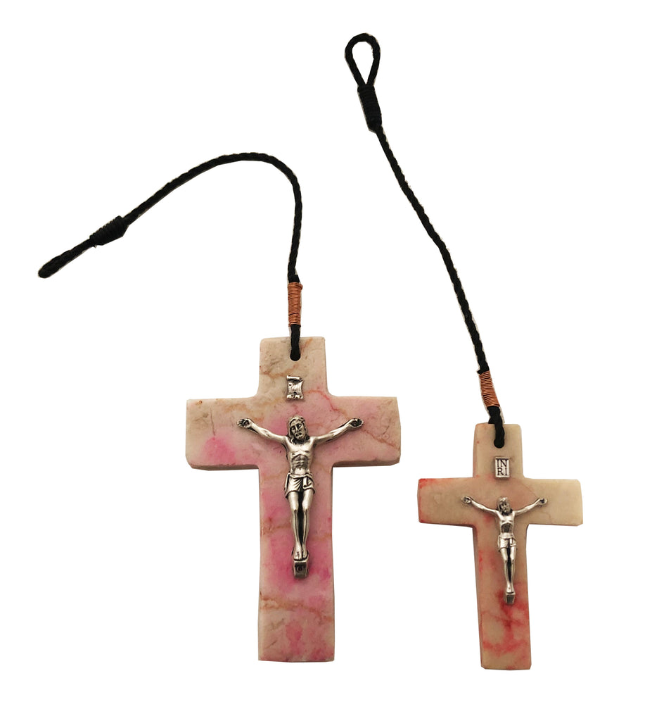Stone Crucifix Cross, in pink