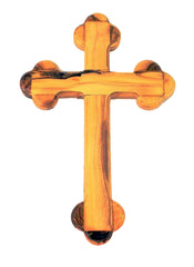 Olive Wood Trefoil Cross 22cm