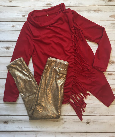 Red Fringe wrap cardigan