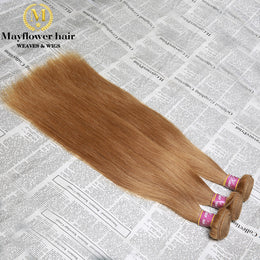 Straight Human Hair Weave Colored #27