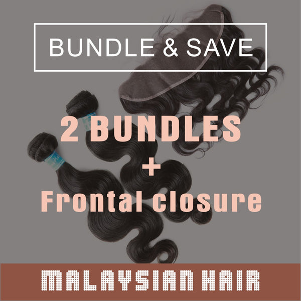 2 Bundles Virgin Hair With Lace Frontal Closure