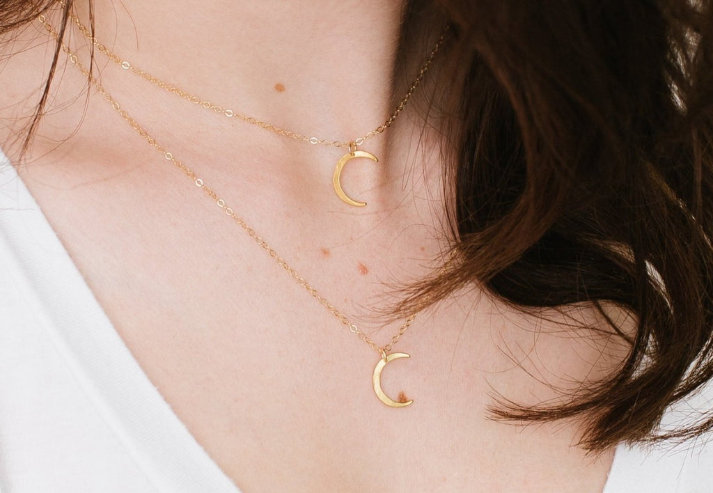 Waning Crescent Gold Necklace