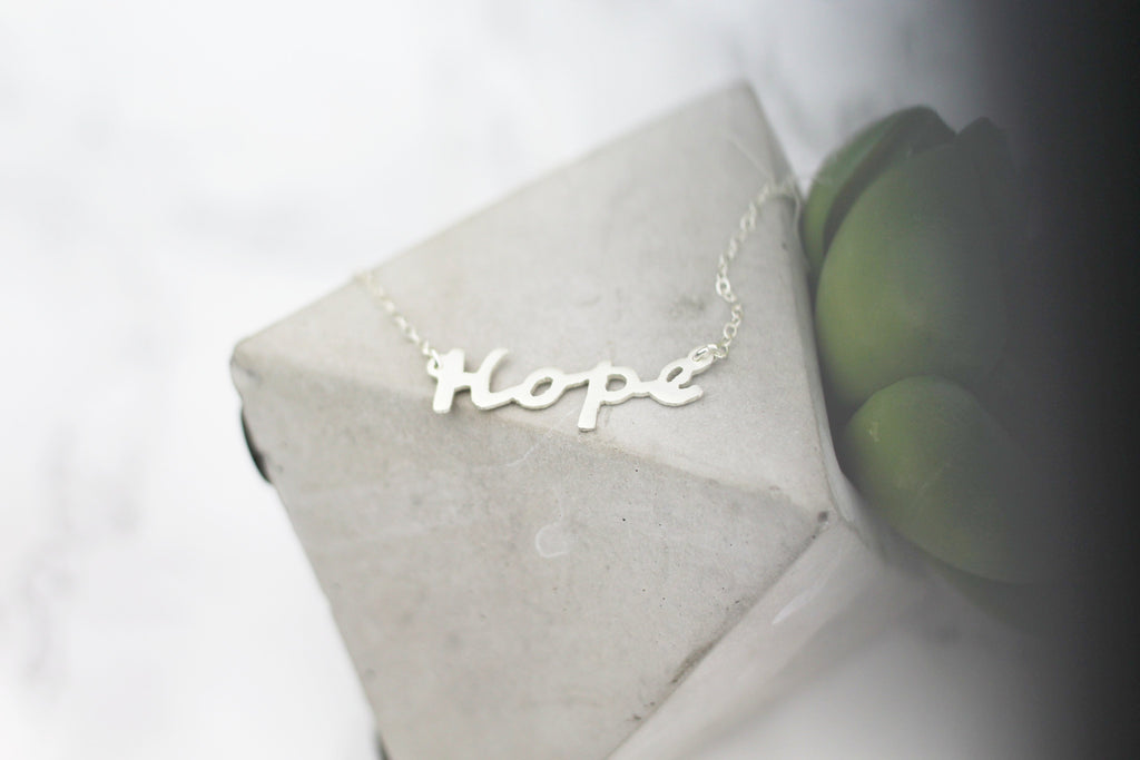 Hope Mantra Hand-Sawed Necklace