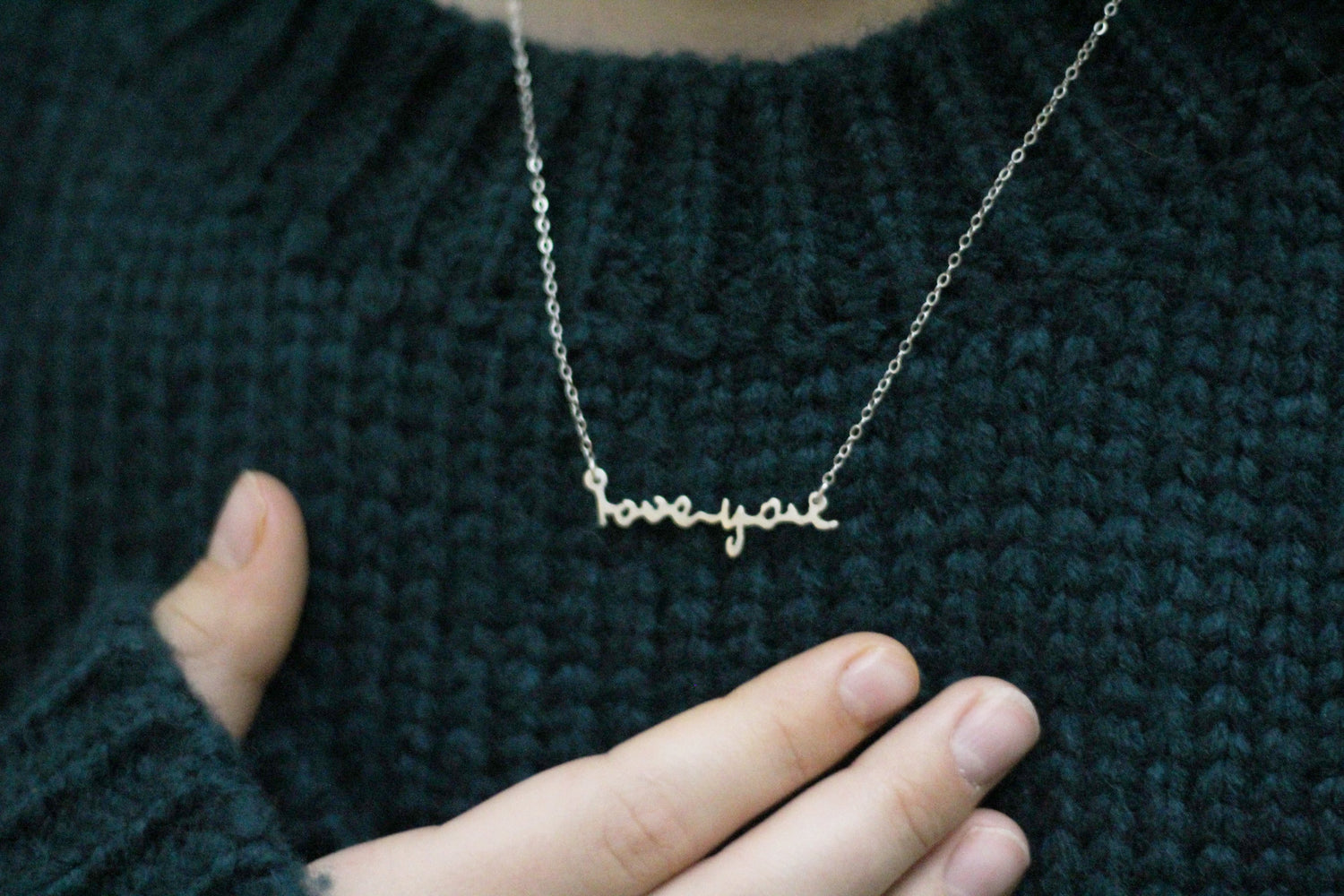 Love Actual Handwriting Customized Horizontal Necklace