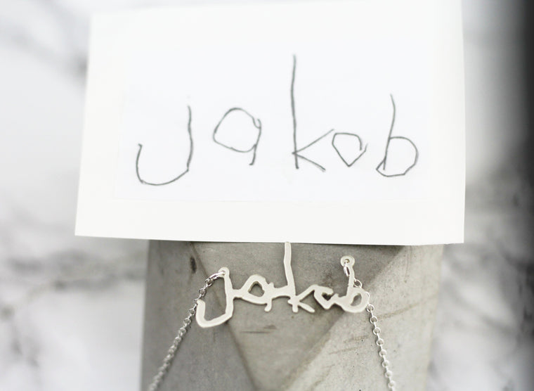 Mama Actual Handwriting Customized Horizontal Necklace