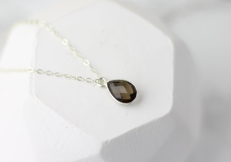 Courage Smokey Quartz Tiny Drop Necklace