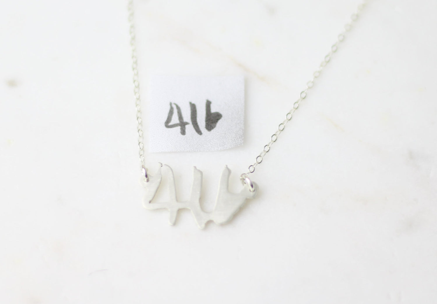 Numbers Actual Handwriting Customized Horizontal Necklace