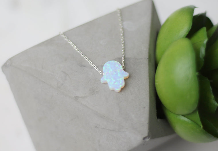 Hamsa White Opal Necklace