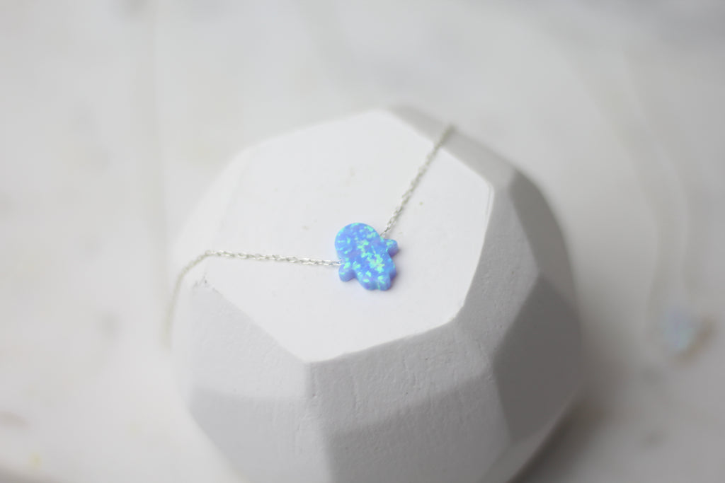 Hamsa Blue Opal Necklace