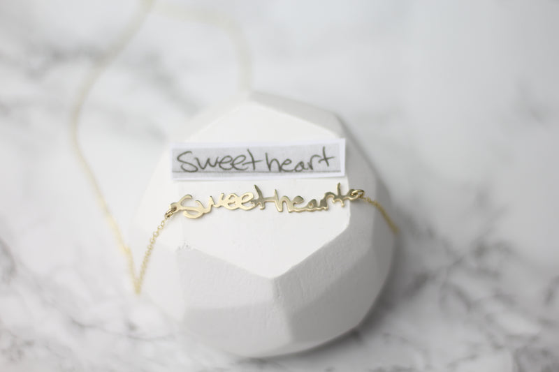 Sweet Heart Actual Handwriting Customized Horizontal Necklace