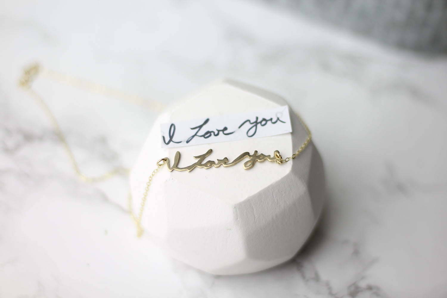 Love Gold Actual Handwriting Customized Horizontal Necklace