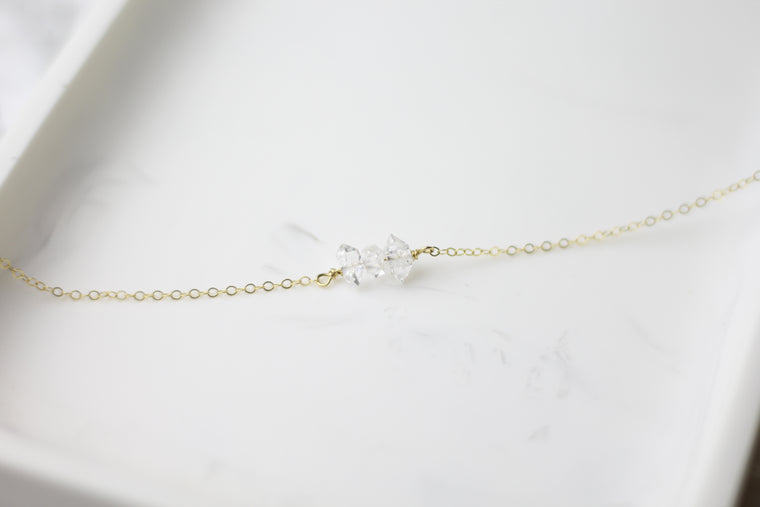 Peaceful Herkimer Diamond Quartz Necklace