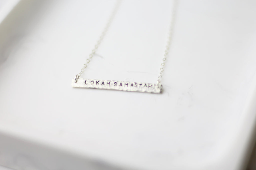 Lokah Samastah Sukhino Bhavantu (Peace) Mantra Bar Necklace