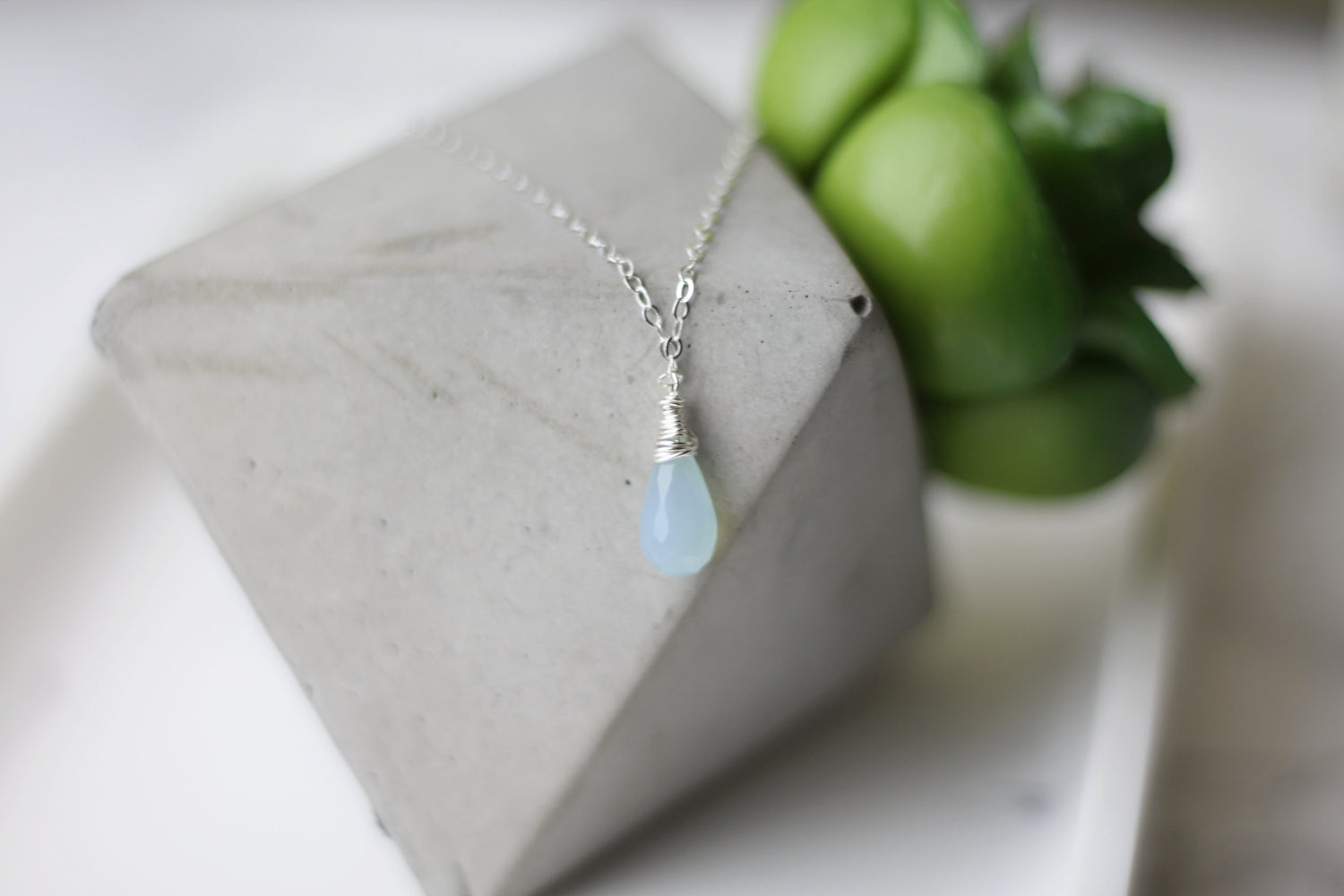 Compassion Blue Tear Drop Necklace