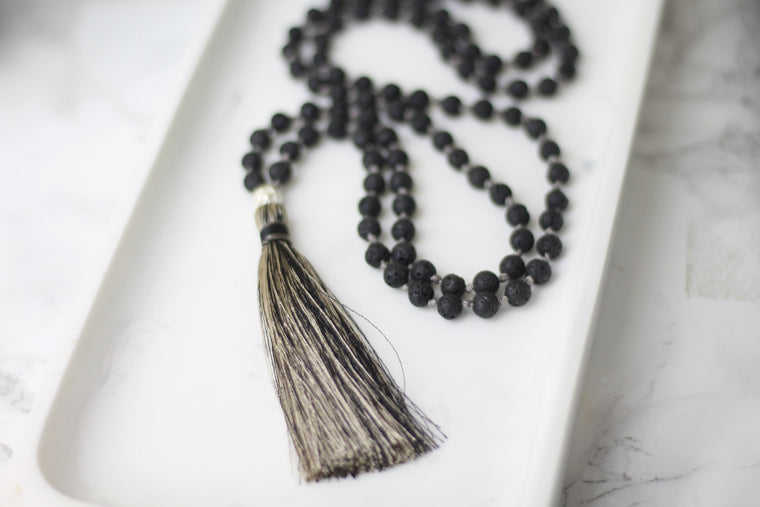 Protection Lava Tassel Mala Necklace