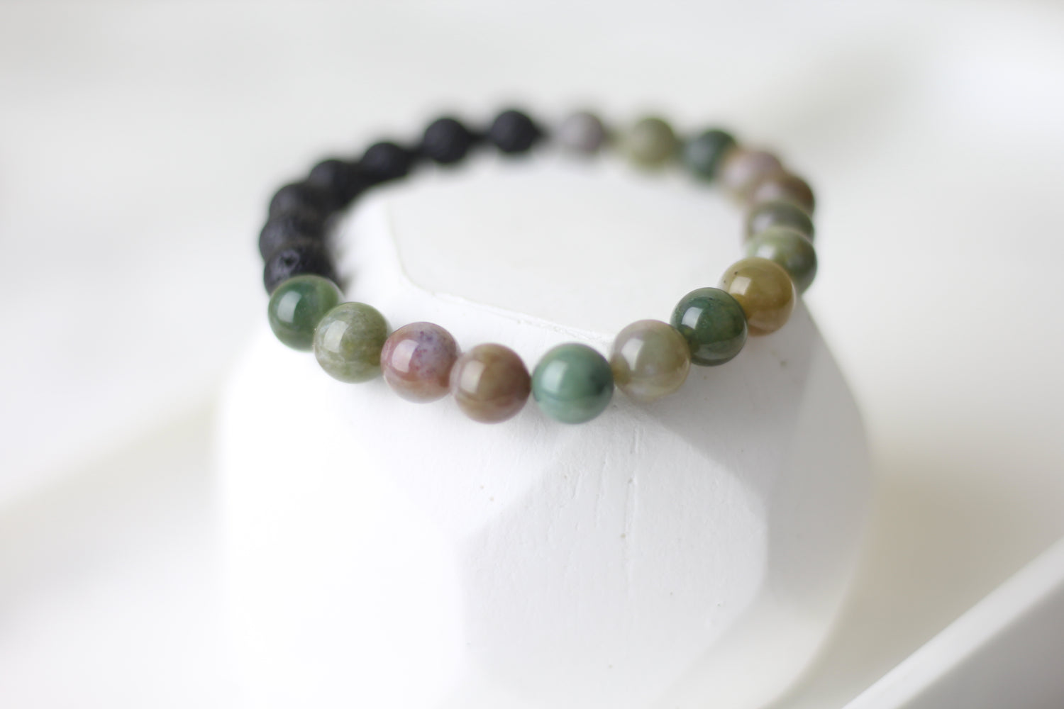 Good Luck Indian Agate Lava Diffuser Bracelet