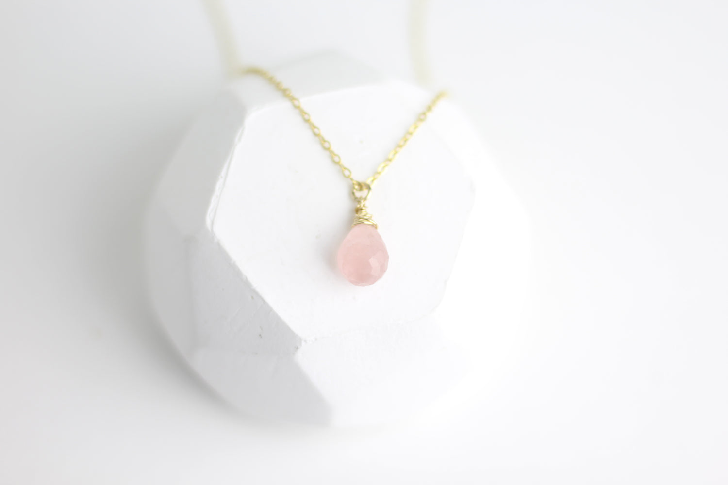 True Love Rose Quartz Tear Drop Necklace