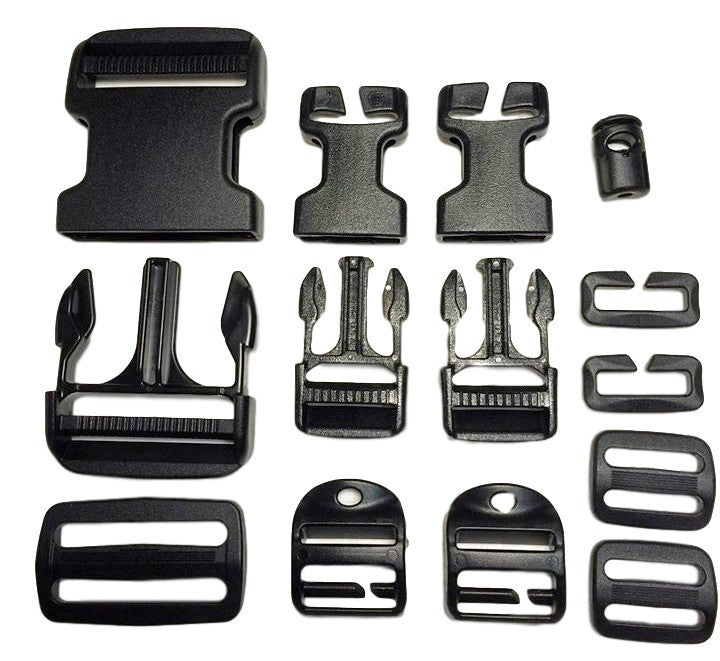 Buckle Repair Kit in Black : 50mm Side Release Adjustable Male and Female Buckle, 50mm Split-Bar Buckle, 2x 25mm Side Release Adjustable Male Buckles, 2x 25mm Side Release Quick Attach Female Buckles, 2x 25mm Triglide, 2x 25mm Quick Attach Loop, 2x 25mm Quick Attach Ladderloc