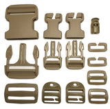 Buckle Repair Kit in Tan : 50mm Side Release Adjustable Male and Female Buckle, 50mm Triglide, 2x 25mm Side Release Adjustable Male Buckles, 2x 25mm Side Release Quick Attach Female Buckles, 2x 25mm Triglide, 2x 25mm Quick Attach Loop, 2x 25mm Quick Attach Ladderloc