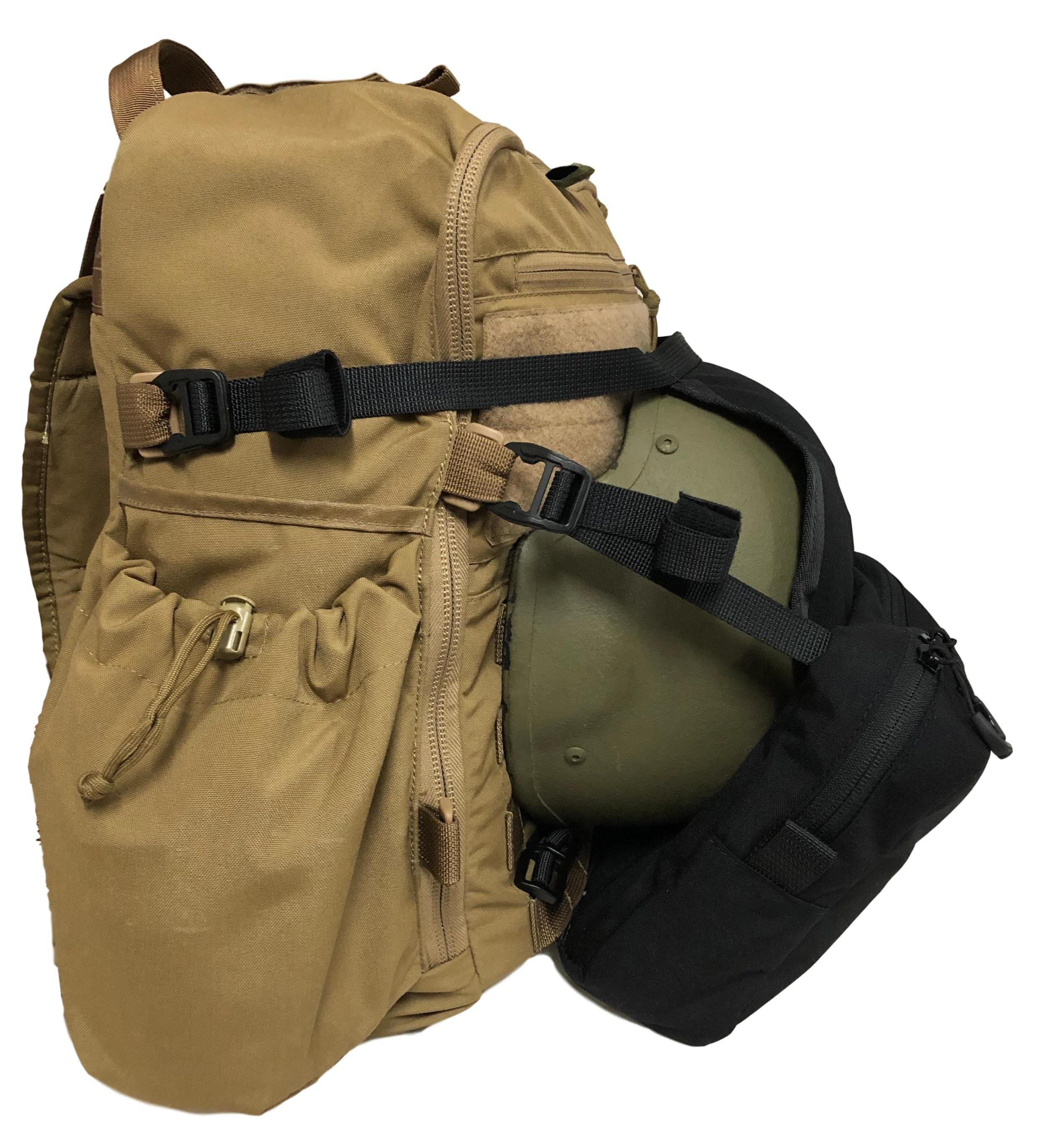 High Range Outdoors Australian Made Loady Pouch black Zulu backpack coyote brown side Beaver Tail molle helmet carrier
