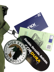 High Range Outdoors tag, Cordura tag, Duraflex tag and YKK tag attached to product