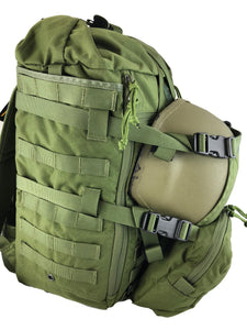 MR40 military backpack with loady as helmet cradle side angle view