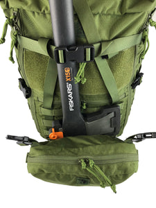 MR40 bushcraft backpack with loady pouch as axe holder