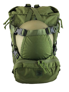 MR40 military backpack with loady as helmet cradle