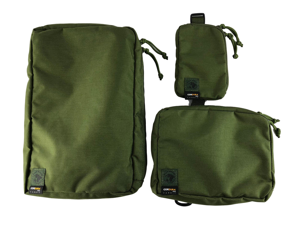 Small, medium and large pack pouches