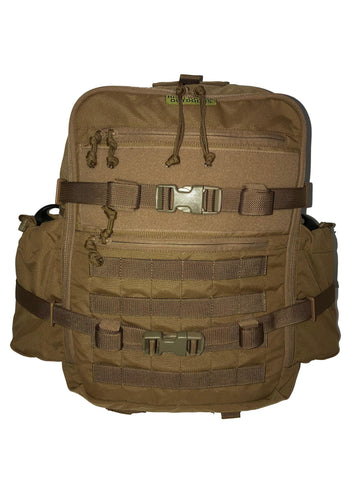 High Range Outdoors Zulu 20 Clamshell Hunting Day Pack Front Molle Pockets Coyote Brown Canteen Pouches
