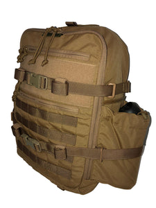 High Range Outdoors Zulu 20 Clamshell Day Pack Coyote Brown Side Canteen Pouch Full