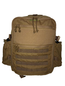 High Range Outdoors Zulu 20 Clamshell Bushcraft Day Pack Coyote Brown Canteen Pouches Full Compression Straps Removed