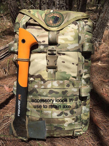 High Range Outdoors Multicam Backpack with Paracord Accessory Kit Coyote Brown Loops Fiskars Hatchet Axe