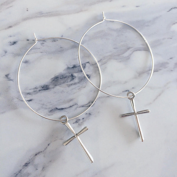 Halo Cross Earrings